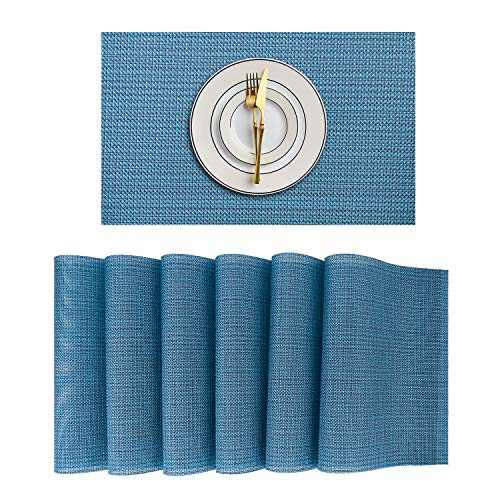 Kononia Placemats Set of 6, Washable Woven Vinyl Table Mats, Place Mats for Dining Table(Blue-Weave)