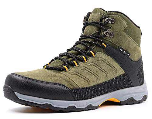 Gladsome Mens Mid Waterproof Hiking Boots Suede Leather Winter Trekking Shoes Khaki 12