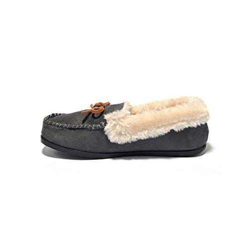 Breifola C012, Women's Indoor Winter Warm Slippers, Suede + Rabbit Fur, Brown, Black, Wine Red, Apricot, Dark Gray (Deep/Gray/012-5, 6)