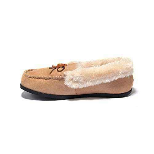 Breifola C012, Women's Indoor Winter Warm Slippers, Suede + Rabbit Fur, Brown, Black, Wine Red, Apricot, Dark Gray (Beige/012-4, 7)