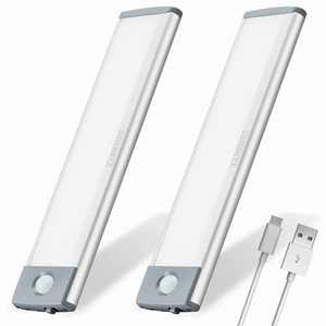 Motion Sensor Closet Light Under Cabinet Lighting 30 LEDs Rechargeable Under Counter Lights Soft Bright Wireless Led Closet Light Stick On Lights for Kitchen Wardrobe Stairs Cupboard-2packs