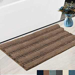 """Bath Rugs Super Thick Soft and Machine Washable, Kitchen Carpet, Bathroom mat, Absorbent Dry Quick Chenille Bath mat (20""""x30"""", Brown)"""