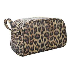 OXYTRA Toiletry Organizer Wash Bag Travel Hanging Dopp Kit PU Leather Cosmetic Bag Makeup Bag for Women Girls(Leopard) (Leopard)