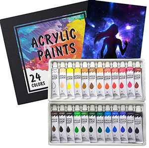 Acrylic Paint Set 24 Colors 12ml Acrilic Non-Toxic Rich Pigments Paints Sets for Artists Hobby Painters Adults Kids Beginners Professionals Ideal for Canvas Wood Clay Fabric Ceramic Craft Supplies