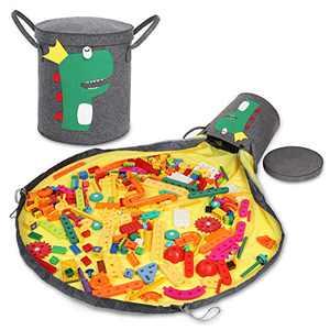 Kids Toys Organizer Bin for Lego Storage Basket for Boy & Girl Bricks Bag w/ Play Mat