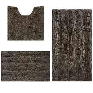 "Bath Rugs Super Thick Soft and Machine Washable, Kitchen Carpet, Bathroom mat, Absorbent Dry Quick Chenille Bath mat (20""x20""Plus20 x30 Plus17 x24, Gray)"