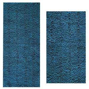 "Bath Rugs Super Thick Soft and Machine Washable, Kitchen Carpet, Bathroom mat, Absorbent Dry Quick Chenille Bath mat (20""x30""Plus17 x47, Turquoise Blue)"
