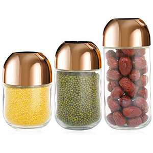 HALNDA Glass Jars with Lids Airtight Food Storage Canister Jars Glass Food Storage Jars with Kitchen Pantry Organization Pack of 3, 22 Oz