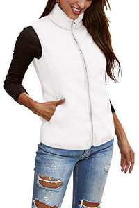 Fleece Vest for Women Sleeveless Side Pockets Winter Outwear Coat Slim Petite Comfy Breathable Sherpa Fleece Vest White S