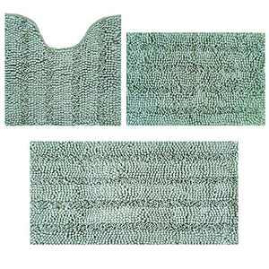 "Bath Rugs Super Thick Soft and Machine Washable, Kitchen Carpet, Bathroom mat, Absorbent Dry Quick Chenille Bath mat (20""x20""Plus20 x30 Plus17 x24, Egg Blue)"