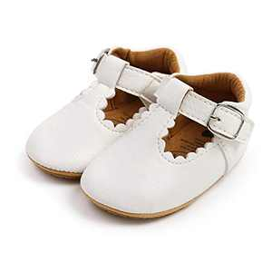 TMEOG Baby Soft Rubber Sole PU Leather Shoes Toddler First Walkers Infant Newborn Baby Dresses Casual Shoes Seasons (B- White, 6_Months)