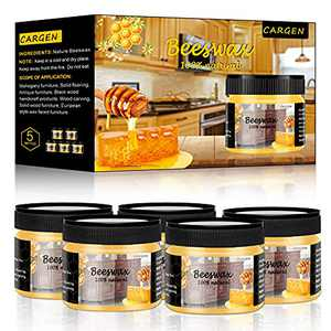CARGEN Beeswax Furniture Polish, Wood Seasoning Beeswax for Furniture Wood Wax for Dining Table Floor Doors Chairs Cabinets to Protect and Care 5pcs Beeswax Polish 3pcs Sponge and 1pcs Polish Glove