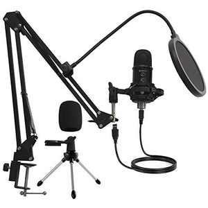 Mirfak USB Microphone Professional Kit, Desktop Condenser Microphone with Arm Stand Support iOS/Windows/Android/Linux for Live-Stream, YouTube, Game, Studio, Broadcasting, Music Recording