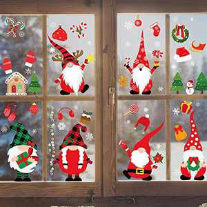 Joy Bang Christmas Gnome Window Clings Christmas Clings for Windows 8 Sheets Christmas Scandinavian Tomte Window Decals Stickers for Glass Windows Xmas Holiday Home Office Decorations