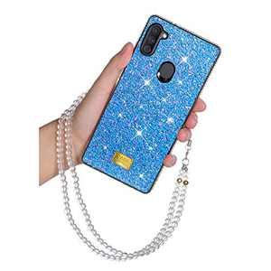 Samsung A11 Glitter Case Bling Rhinestone Girly Luxury Sparkle Rainbow Gradual Protective Case Cover with Lanyard Strap Crystal Diamond Soft TPU Bumper for Women Girls Samsung A11 6.67 inch Blue