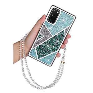 "Samsung Galaxy S20 5G Glitter Case Bling Rhinestone Girly Luxury Sparkle Rainbow Gradual Protective Case Cover with Lanyard Strap Crystal Diamond TPU Bumper for Women Girls Samsung S20 5G 6.2"" Green"