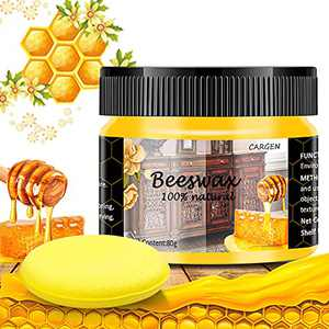 CARGEN Beeswax Furniture Polish, Wood Seasoning Beeswax for Furniture Wood Polish for Floor Tables Chairs Cabinets for Home Furniture to Protect and Care 1pcs Wood Wax and Sponge