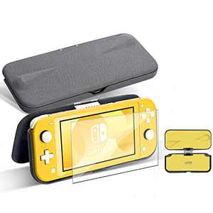 G-STORY Flip Protective Case for Nintendo Switch Lite with Tempered Glass Screen Protectors, Slim Anti-Scratch Anti-Slip Protective Case for Nintendo Switch Lite Yellow