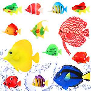Skylety 13 Pieces Artificial Fish Set Silicone Glowing Clownfish Including 3 Large Colorful Floating Fake Fishes and 10 Random Small Ornament Clownfish for Fish Tank Aquarium Underwater Decoration