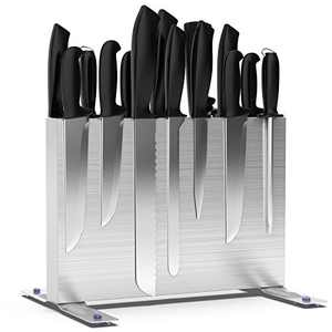 Hokyzam Magnetic Knife Block Holder 304 Stainless Steel Knife Holder Double Sided Magnets Cutlery Display Stand and Storage Rack with Strong Enhanced Magnet 2021 Upgrade Version