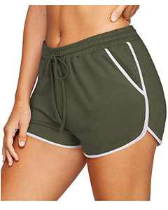 OUGES Womens Casual Summer Elastic Waist Athletic Shorts Running Short Pants with Pockets(Army Green, M
