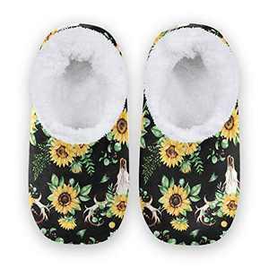 Fuzzy Slipper for Women and Men Memory Foam Comfort House Shoes Anti-Skid Sole Coral Fleece House Slipper Sunflower Skull Boho Watercolor Background XX-Large