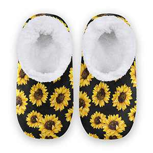 KLL Fuzzy Slipper for Women and Men Memory Foam Comfort House Shoes Anti-Skid Sole Coral Fleece House Slipper Sunflower XX-Large