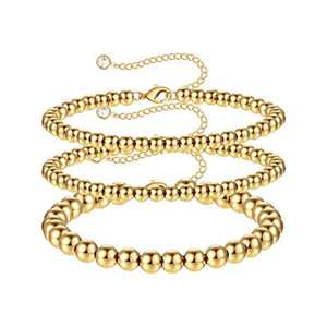 M MOOHAM Gold Beaded Bracelets for Women, 14K Gold Plated Handmade Cute Round Beaded Gold Bracelets for Women Dainty Gold Beaded Bracelets for Women Teen Girls Layered Bracelet for Women Gold Jewelry