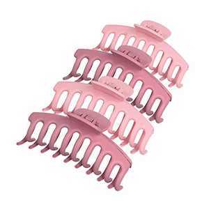 4 pcs Large Hair Claw Clips for Thick Hair - Matte Plastic Butterfly Hair Clips Strong Hold for Women and Girls French Curly Hair (Pink+Rose)