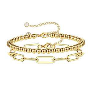 M MOOHAM Gold Beaded Bracelets for Women, 14K Gold Plated Handmade Cute Round Beads Paperclip Chain Bracelets Paperclip Link Bracelets for Women Dainty Layered Bracelet for Women Gold Jewelry