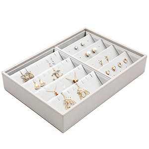 Vee Upgraded Stackable Jewelry Organizer Tray, High-Capacity Jewelry Storage Organizer for Drawer, Jewelry Display (Necklace Tray, Grey)