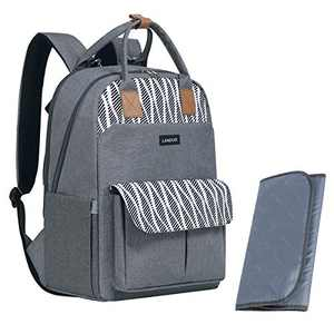 Landuo Diaper Bag Backpack Baby Nappy Changing Bags Waterproof Travel Back Pack with Changing Pad & Stroller Straps(LD200717,Grey)