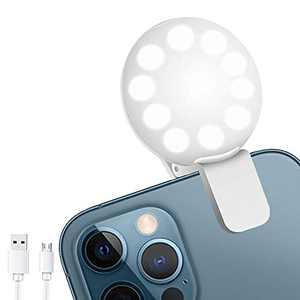 Mini Ring Light, Sansent Small Clip On Ring Light,Portable LED Light for Phone, 3-Level Adjustable Brightness Selfie Light,Tool for Tiktok Stuff, Photos, Videos (Cool Light)