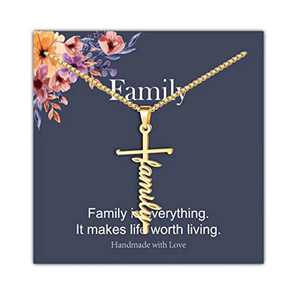 IEFRICH Cross Necklace for Women, 14K Gold Plated Family Cross Pendant Necklace Religious Christian Jewelry Gifts for Women, Mothers Day Valentines Girls Gifts