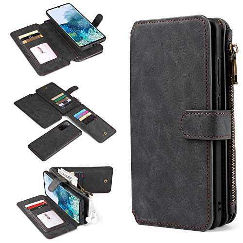 Galaxy S20 FE Case, Zttopo 2 in 1 Premium Leather Zipper Detachable Magnetic 14 Card Slots Money Pocket Clutch for Samsung S20 FE Wallet Case (Black)