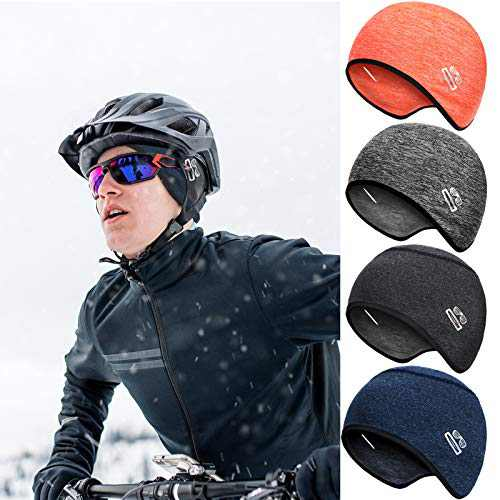 4 Pieces Men Skull Cap Helmet Liner Thermal Cycling Beanie Cap with Glasses Hole for Men Women, Fits Under Helmets (Bright Colors)