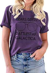 Bears Beets Battlestar Galactica Office Shirts Women Teen Girls Funny Graphic Vintage Tees T Shirt Tops Purple