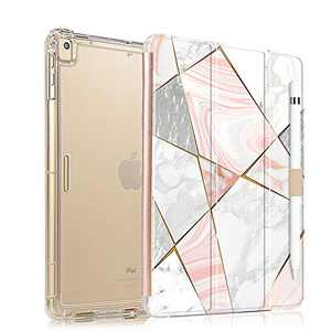 Valkit iPad 9.7 Case 2018 iPad 6th Generation / 2017 iPad 5th Generation Case, iPad Air Case, iPad Air 2 Case - Slim Stand Case with Translucent Frosted Back Cover for iPad 9.7 Inch – Rose Red Marble