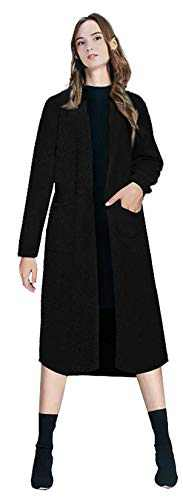 Urban CoCo Women's Long Sleeve Solid Chunky Open Front Sweater Cardigan Coat with Pockets (Black, S)