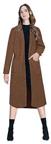 Urban CoCo Women's Long Sleeve Solid Chunky Open Front Sweater Cardigan Coat with Pockets (Coffee, L)