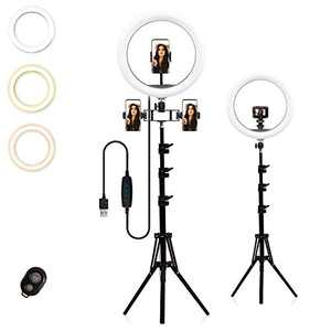 "13"" LED Ring Light with Extendable Tripod Stand& Phone Holder,3 Dimmable Colors,10 Adjustable Brightness,Bluetooth Remote for Live Streaming/Vlogging/Makeup/Portrait Shooting,Compatible with 3 Phones"