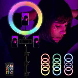 """13"""" RGB Ring Light with Extendable Tripod Stand& Phone Holder. 15 Colors,10 Adjustable Brightness, Bluetooth Remotes for Live Streaming/Vlogging/Makeup/Portrait Shooting Compatible with 3 Phones."""