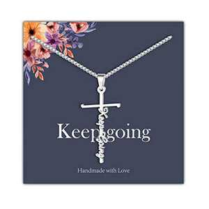 IEFRICH Cross Necklace for Women, Silver Keep Going Cross Pendant Necklace Religious Christian Jewelry Gifts for Women