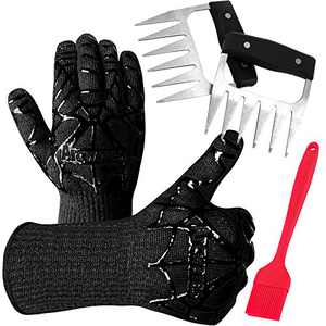 BBQ Grill Gloves [1472℉ NEWEST] EN407/EN420 CE Heat Resistant - Oven Silicone Glove Fireproof for Smoker Baking - High-temp Barbecue Grilling Potholders - Heat-insulated Cooking Mitt, (Black suit)