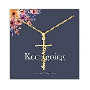 IEFRICH Cross Necklace for Women, 14K Gold Plated Keep Going Cross Pendant Necklace Religious Christian Jewelry Gifts for Women