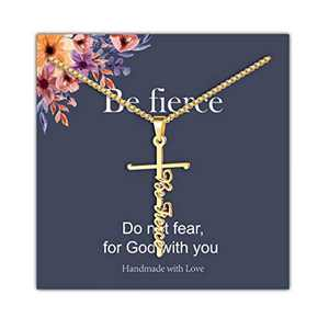 IEFRICH Cross Necklace for Women, 14K Gold Plated Be Fierce Cross Pendant Necklace Religious Christian Jewelry Inspirational Gifts for Women