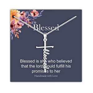 IEFRICH Cross Necklace for Women, Silver Blessed Cross Pendant Necklace Religious Christian Jewelry Gifts for Women