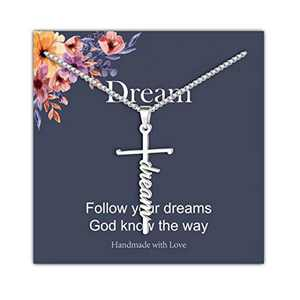 IEFRICH Cross Necklace for Women, Silver Dream Cross Pendant Necklace Religious Christian Jewelry Gifts for Women