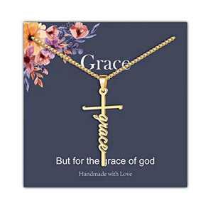 IEFRICH Cross Necklace for Women, 14K Gold Plated Grace Cross Pendant Necklace Religious Christian Jewelry Gifts for Women