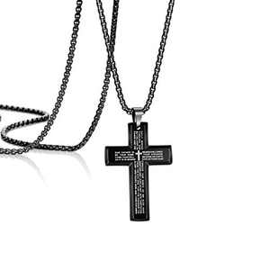 Crucifix Necklaces for Men Gifts for Christian Lord Prayer Cross Stainless Steel Black Bible Verse Box Chain Inspriational Mom Daughter Best Friend Sister Wife Aunt Engraved Jewelry 26 Inch